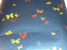 NOS Vintage Mid Century Double Roll Metallic Butterfly Motif Wallpaper 70's
