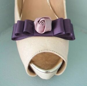 2 Plum Bow Clips for Shoes with Pink Satin Flower Centre