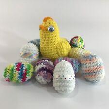 Crochet Easter Eggs and Chick Handmade 9 Multicolor Eggs