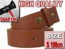 NEW BROWN SMALL 100cm Easy Snapon PU Leather snap on for mens womens unisex belt