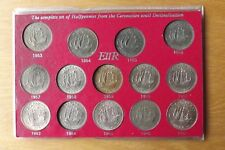 British UNC Grade 14 Coin Complete Halfpenny Set 1953-1967 QEII Cased Scarce...