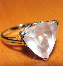 BEAUTIFUL SECONDHAND 9ct WHITE GOLD MISTY ROSE QUARTZ & DIAMOND RING SIZE N1/2