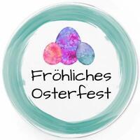 48 Oster-Aufkleber Set Frohe Ostern Geschenke Sticker Etiketten rund Aquarell Ei