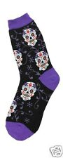 Foot Traffic Sugar Skulls Black Purple Womans Cotton Blend Crew Socks New