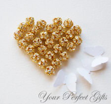 10 pcs Rhinestone Crystal Bead Spacer Ball Gold Plated 8mm AC013