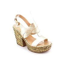 $225 New Sz.8.5  Via Spiga Women's Gold Leather Platform Sandal Heel Wedge Shoes