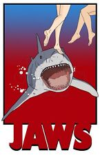 """Original Jaws Art poster print """"Don't Go In The Water"""" Quint Shark Blu Orca"""