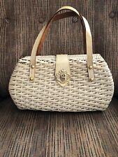 New listing Vintage White Wicker Handbag, Leather Straps And Fabric Lining ,La Fleur