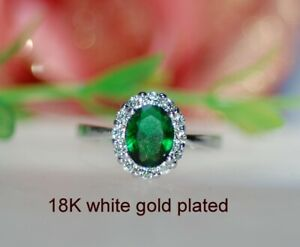 2ct Look oval emerald claster ring uk size N ; us 7
