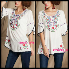 Vtg 70s Boho Mexican Floral Embroidered LOOSE ethnic top White