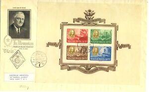 HUNGARY 1947 FDC BLOCK 10 --TO USA - ROOSEVELT - F/VF @1