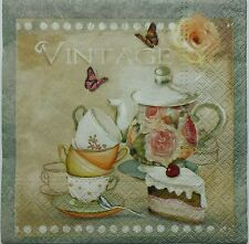 VINTAGE TEA TIME 2 individual LUNCH SIZE paper napkins for decoupage 3-ply