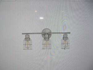 Meridian Lighting Wire 3-Light Bath Bar in Brushed Nickel, M80004BN