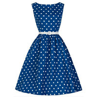 Women's Polka Dot Vintage 1950s Rockabilly Sleeveless Evening Party Swing Dress