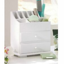 Beauty Product Organizer Supply Wooden 2 Drawer Makeup Storage Cosmetic Desk Box