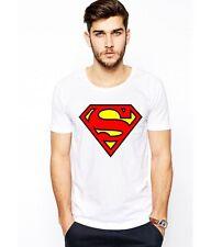 Superman White Cotton Tee Shirt Gift T-Shirt Top Fancy Dress Classic Superhero M