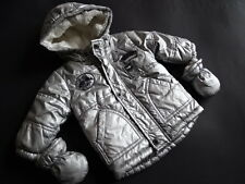 ABSORBA Silberfarbene m.Teddyfell gefütterte Winterjacke + Handschuhe Gr.6M/68