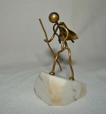 "c.1940's Vintage Heavy Wire ""Mountain Walking Figure"" on Marble Base Folk Art"