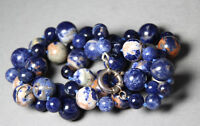 Sodalite Blue White Orange Natural Gemstone 8 &12mm Ball Silk knotted Necklace