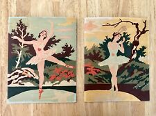 """Vintage Set of Two Ballerina Ballet Dancer Paint By Number? Paintings 8"""" x 10"""""""