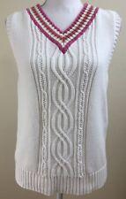 Liz Claiborne Lizsport  Womens Golf Tennis Sweater Vest Large White V Neck