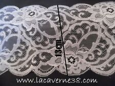 1/3m Ruban superbe dentelle blanche 13 cm 130 mm mariage fêtes broderie couture