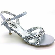 Womens Evening Party Wedding Kitten Mid Heel Diamante Simulated Prom Sandals S-2 UK 8 Silver