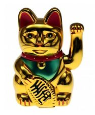 Winkende Katze Winke-Katze Winkekatze Glücksbringer Glückssymbol 16cm hoch Gold