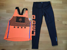 Ladies Reebok Les Mills Black Orange Activewear Set Small-medium Leggings Vest