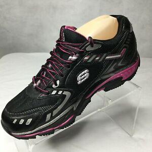 Skechers SHAPE-UPS Sneaker Sz 8.5 Fitness Toning Leather lace up Walking Black