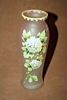"Vintage Pink Fine Satin Glass 8"" Bud Vase - Hand Painted Floral Decor"