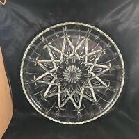 "Vintage Clear Depression Glass Snowflake 13-1/4"" Round Platter"