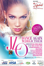 "JENNIFER LOPEZ ""DANCE AGAIN WORLD TOUR LIVE IN MALAYSIA 2012"" KL CONCERT POSTER"
