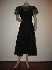 So Beautiful! Vintage 80s Black Lace Sequin Prom Formal Evening Dress S/M