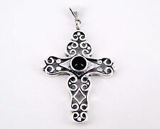 Vintage Sterling and Onyx Open Ornate Cross