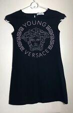 Euc Versace Young Versace Girl's Crystal-Embellished Medusa Black Dress Sz S