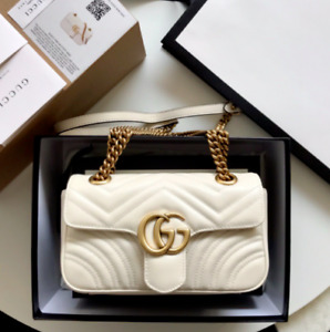 Authentic Gucci GG Marmont Mini Bag Leather White