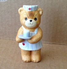 1980 Enesco Lucy Rigg Lucy & Me Nurse Bear with Cookies and Milk
