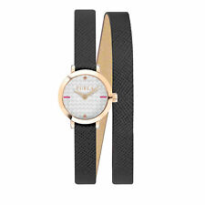 Furla Women's R4251107501 Vittoria Rose-Gold IP Steel Silver Dial  Leather Watch