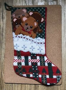 Hand Made Petite Point/Needlepoint Xmas Teddy Bears Stocking/Bucilla.