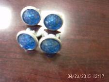 4 Vintage Faceted Motorcycle/Car License Plate Reflectors Blue Plastic