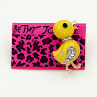 Yellow Enamel Crystal Cute Duck Charm Betsey Johnson Animal Brooch Pin Gift