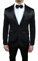 MEN'S SUIT TAILORED SATIN SHINY BLACK SLIM ÉLÉGANT DRESS SET SMOKING