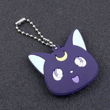 Anime Sailor Moon Cat Luna Cute Key Ring Chain Cover Top Head Cap Keyring