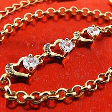FSA639 GENUINE REAL 18K YELLOW G/F GOLD LADIES DIAMOND SIMULATED BRACELET BANGLE
