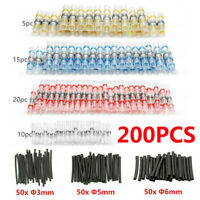 200PCS Solder Sleeve Heat Shrink Butt Waterproof AWG 10-22 Wire Splice Connector
