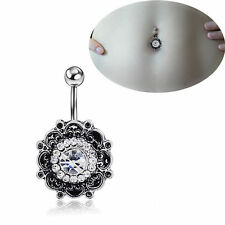 Belly Button Rings Dangle Crystal Rhinestone Navel Bar Body Piercing Jewelry New