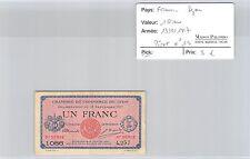 BILLET DE NÉCESSITÉ - FRANCE - LYON - 1 FRANC - 13.9.1917