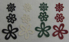 12 Dark Adhesive Felt Flower Scrapbooking Embellishments, Craft & Card Making