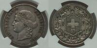 Rare 1891B Large Heavy Silver Coin Swiss Confederation Five Francs NGC VF35